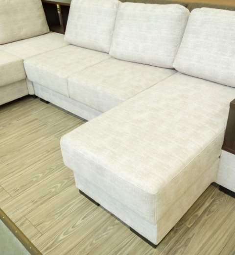 large white couch after upholstery cleaning